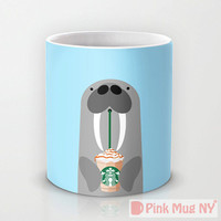 Personalized mug cup designed PinkMugNY - I love Starbucks - steller sea lion