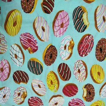 Sweet Cartoon Food Colorful Donuts Printed Cotton Fabric For DIY Sewing Bedding Clothing Quilting Dressing 110cm width