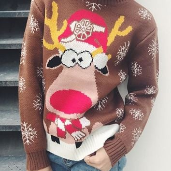 Brown Reindeer Print Round Neck Long Sleeve Sweet Christmas Pullover Sweater