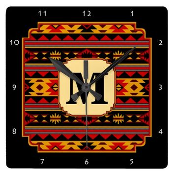 Southwest Design Red Black Gold Monogram Square Wall Clock