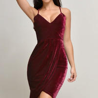 Alyssa Velvet Burgundy Dress