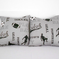 Grey Pillow Sports Theme Athletic Pillow Cover 16 inches