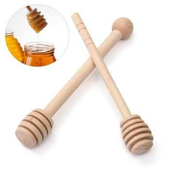 NEW!!!Mini Wooden Honey Stick Wood Honey Spoon Stir Bar for Honey Jar Supplies Eco-Friendly Long Handle Mixing Stick Dipper 1PC