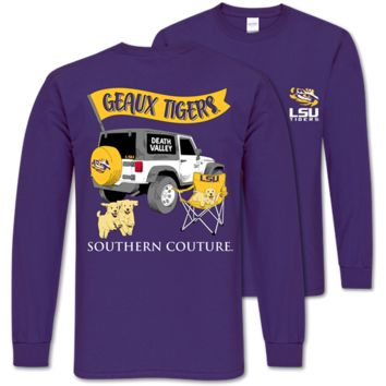 Southern Couture Classic Louisiana LSU Tigers Jeep Long Sleeve T-Shirt