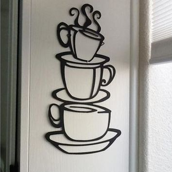 r Removable DIY Kitchen Decor Coffee House Cup Decals