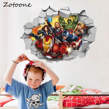 ZOTOONED Super Hero Wall Stickers Iron Man Hulk Vinyl Wall Decor The Avengers Movie Wall Stickers Kids Rooms Decoration Posters