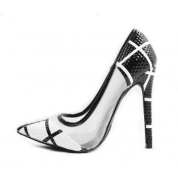 Shoe Republic Channing black and white Pointy Toe Pumps wowtrendz