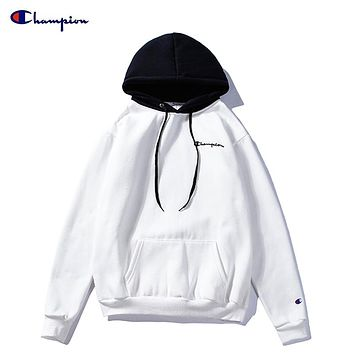 Champion couple autumn and winter color matching loose long sleeve casual hoodie White
