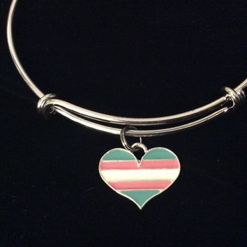 Transgender Heart Pink and Blue Stripe Flag Expandable Charm Bracelet Silver Adjustable Bangle One One Size Fits All Gift