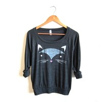 Supermarket: Geo Cat - HAND STENCILED Slouchy Eco Heather Deep Scoop Neck Lightweight Sweatshirt in Heather Black from Alyssa Zukas