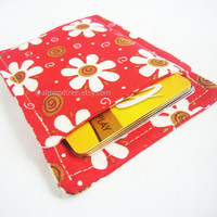 Flowers red slim card wallet, portefeuille, grab and go fabric card case, business card holder, id1360696, front pocket wallet, moneystash