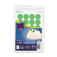 "avery consumer products removable labels, 3/4"" round, 1008/pk, green neon"