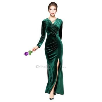 Surplice Velvet Slit Evening Dress