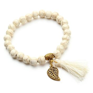 Boho Natural Stone Turquoises Beads Bracelet Gold Color Leaf Tassel Charm Bracelets Bangle Pulseras Mujer F2833