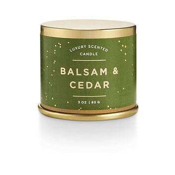 Balsam and Cedar Noble Holiday Demi Tin Candle