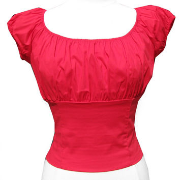 Red Peasant Top retro vintage style