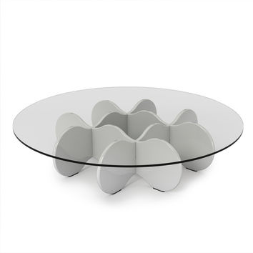 "Waverly 28"" Round Glass Top Accent End Coffee Table in White Gloss"