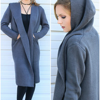 Walk In The Park Gray Oversized Hooded Sweater Cardigan