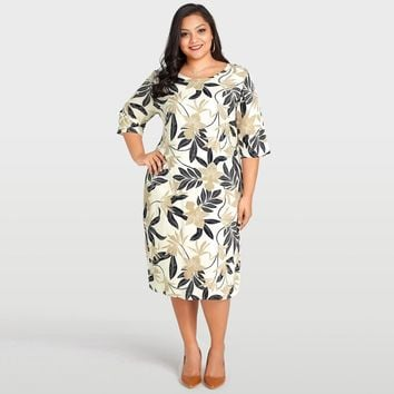 Women Plus Size Dress Leaves Floral Print Half Sleeve Casual Loose Large Size Dress Beige