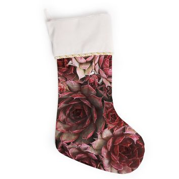 "Debbra Obertanec ""Red Succulents"" Maroon Christmas Stocking"