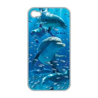 3D Apple iPhone 4 4S Protective Skin Hard Case Back Cover With 3-D Dolphins Ocean Fish Art By Royce B McClure: Screen Protector Film Included