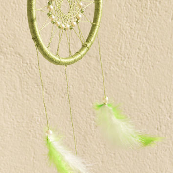 Green Dreamcatcher with plastic beads, wall hanging