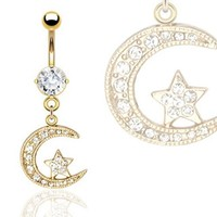 "Gold Plated Moon & Star Navel Belly Button Ring with CZ - 14GA 3/8"" Long (Sold Ind.)"