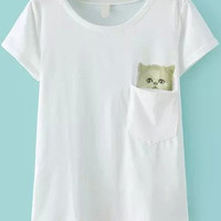 Cat Print Short Sleeve T-shirt with Pocket