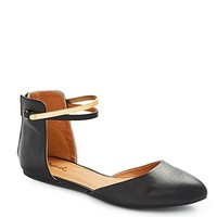 Metallic Ankle Strap D'Orsay Flat