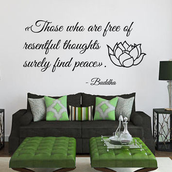 Wall Decals Buddha Quote Those Who Are Free Of Resentful Thoughts Surely Find Peace Home Vinyl Decal Sticker Nursery Baby Room Decor kk414
