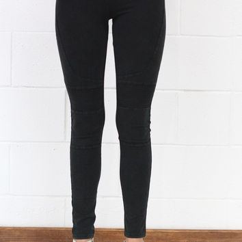 Mineral Washed Moto Leggings {Ash Black} EXTENDED SIZES