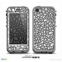 The Gray & White Floral Sprout Skin for the iPhone 5c nüüd LifeProof Case