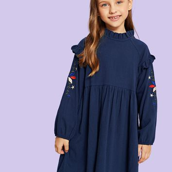Toddler Girls Floral Embroidery Frill Trim Babydoll Dress