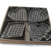 4 Set Art Deco Ashtrays - Vintage Ashtray - Heart Diamond Spade Clover Ash Tray - Crystal Cut Card Suits Ashtrays - Casino Memorabilia Gift