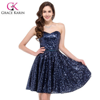 Sparkly Sweetheart Sequins Prom Dresses Knee Length Short Navy Blue Prom Gown Sexy Party Dress Bling GK6133