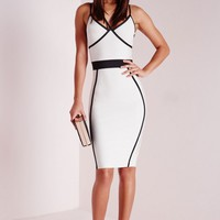 Missguided - Premium Contrast Piping Bandage Bodycon Dress Mono