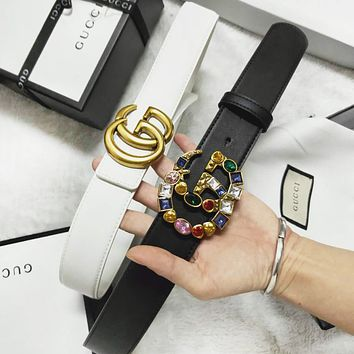 GUCCI Fashion New Gem Diamond Smooth Buckle Leather Women Men Personality Belt