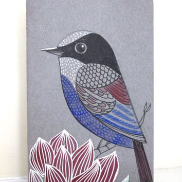 Travel journal -pocket moleskin, bird with lotus Bird Art - Praying journal - mini notebook