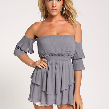 Grey Tiered Off Shoulder Crepe Blouse