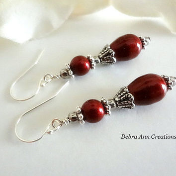 Swarovski Bordeaux Red Pearl Earrings Antique Silver Red Bridesmaid Earring Gift Vintage Style Drop Earring Red Wedding Bridal Pearl Jewelry