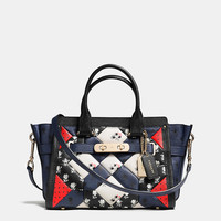 COACH SWAGGER 27 CARRYALL IN PRINTED PATCHWORK LEATHER