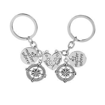 No Matter Where best friend Friendship Key Chain Compass And Heart