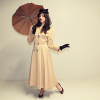 40s 50s LILLI ANN Coat Fit n Flare Trench by TwilaJeanVintage