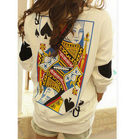 Spade Queen  Casual Party Wear Holiday Plain Long Sleeve Top Shirt Blouse T-Shirt _ 4492