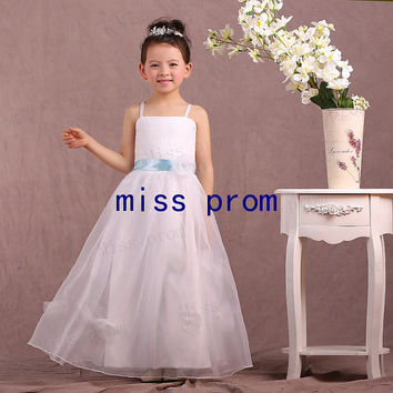 Strapless sleeveless floor-length with blue sash organza flower girl dress