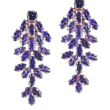 CZ by Kenneth Jay Lane - Amethyst Marquise Waterfall Clip Earring