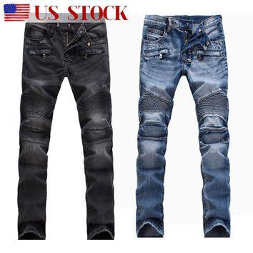 Men's France Biker Moto Jeans Slim Fit Straight Denim Pants Distressed Trousers