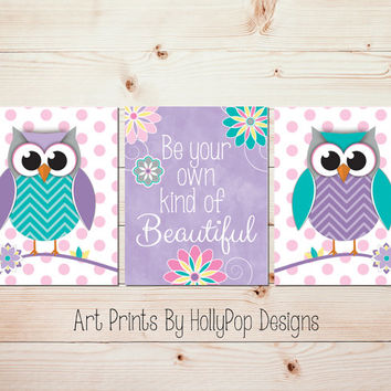 Girls Room Wall Art Owl Nursery Wall Decor Purple Toddler Girls Room Art Prints Baby Girl Nursery Decor Be Your Own Kind of Beautiful #1251