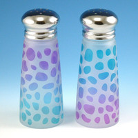 Salt and Pepper Shakers - River Rocks - Purple and Turquoise Frost - Custom Painted and Etched Glassware