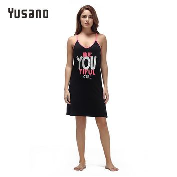 Yusano 2017 Summer Nightgown Women Sleeveless V Neck Sexy Cotton Nightdress Girl Letter Print Sleeping Dress Solid Sleepwear